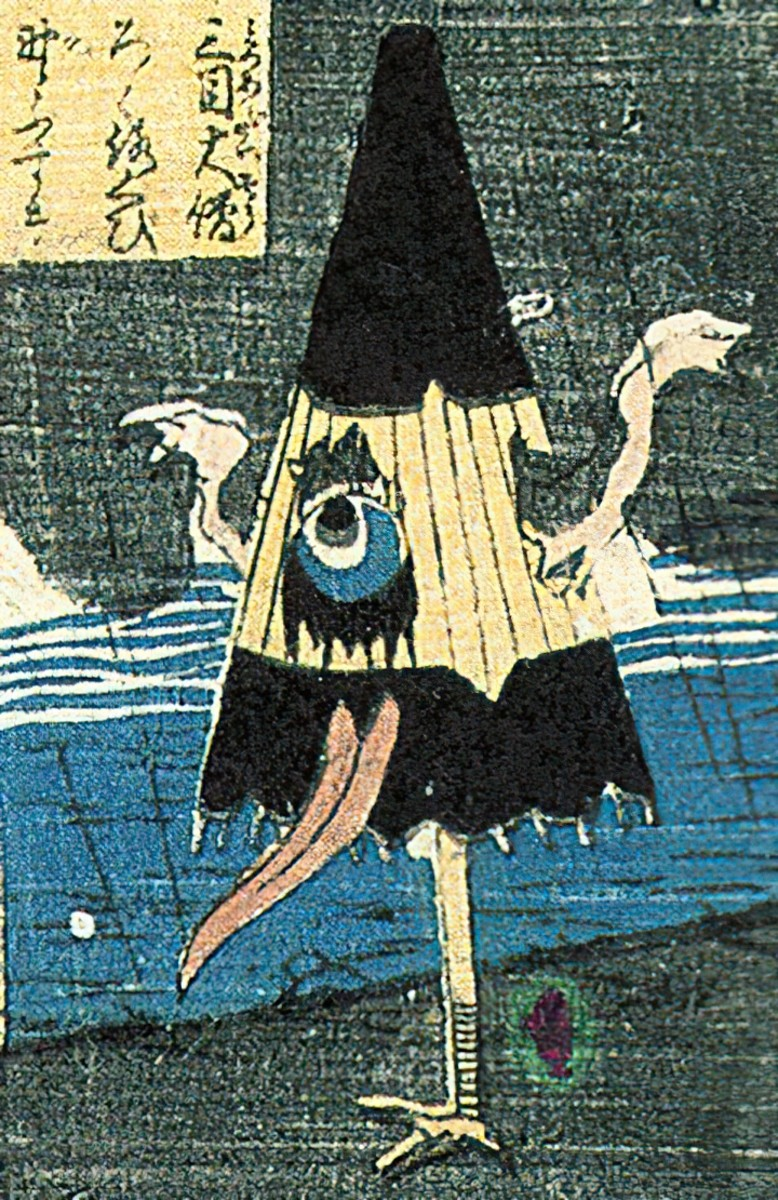 Ukiyo-style depiction of a Kasa Obake by Utagawa Yoshikazu.