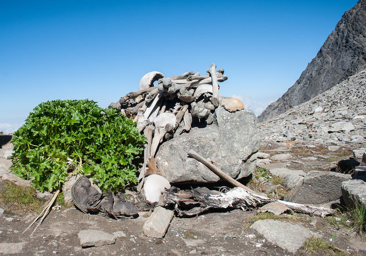 A bone pile at Roopkund Lake.
