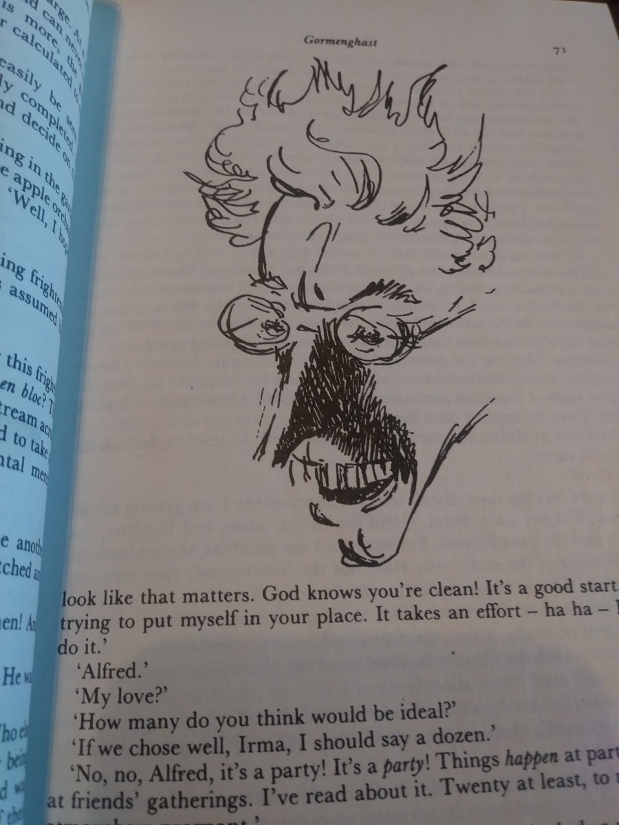 In addition to his extreme literary skills, Mervyn Peake is also a superb artist.  He illustrates his own work.