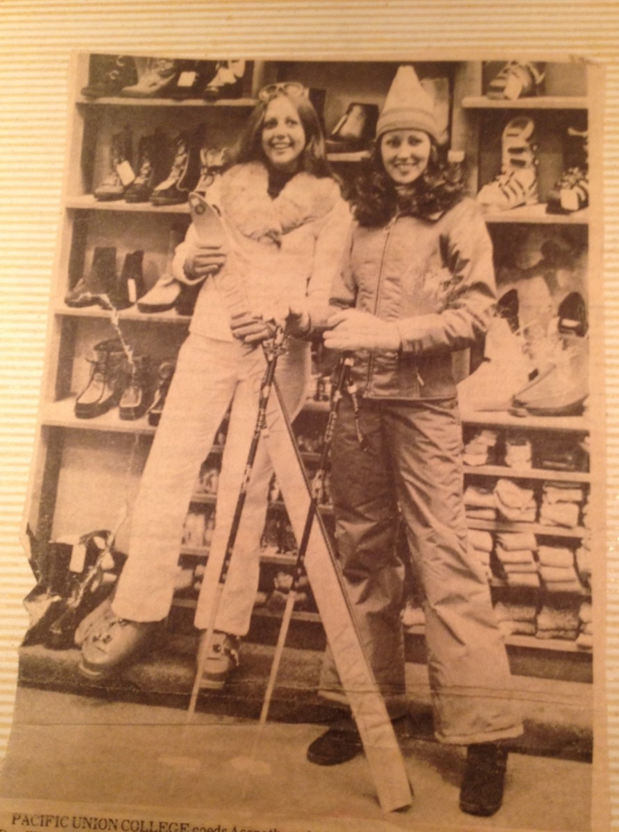 Back in the day—here I am at Pacific Union college, modeling ski wear for an SDA promotional event. The other coed got first dibs on the faux fur jacket. Darn her!