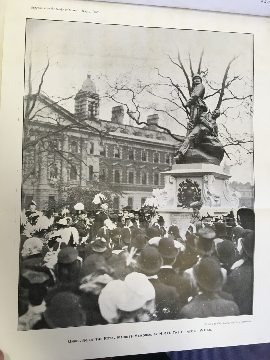 The unveiling of the Royal Marines Memorial or 'Graspan Memorial' in 1903 by the Prince of Wales, later George V