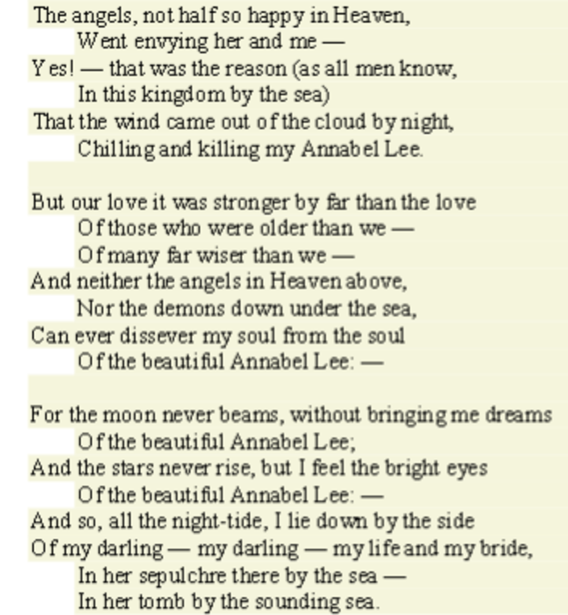 Analysis Of Poem Annabel Lee By Edgar Allan Poe Owlcation Education