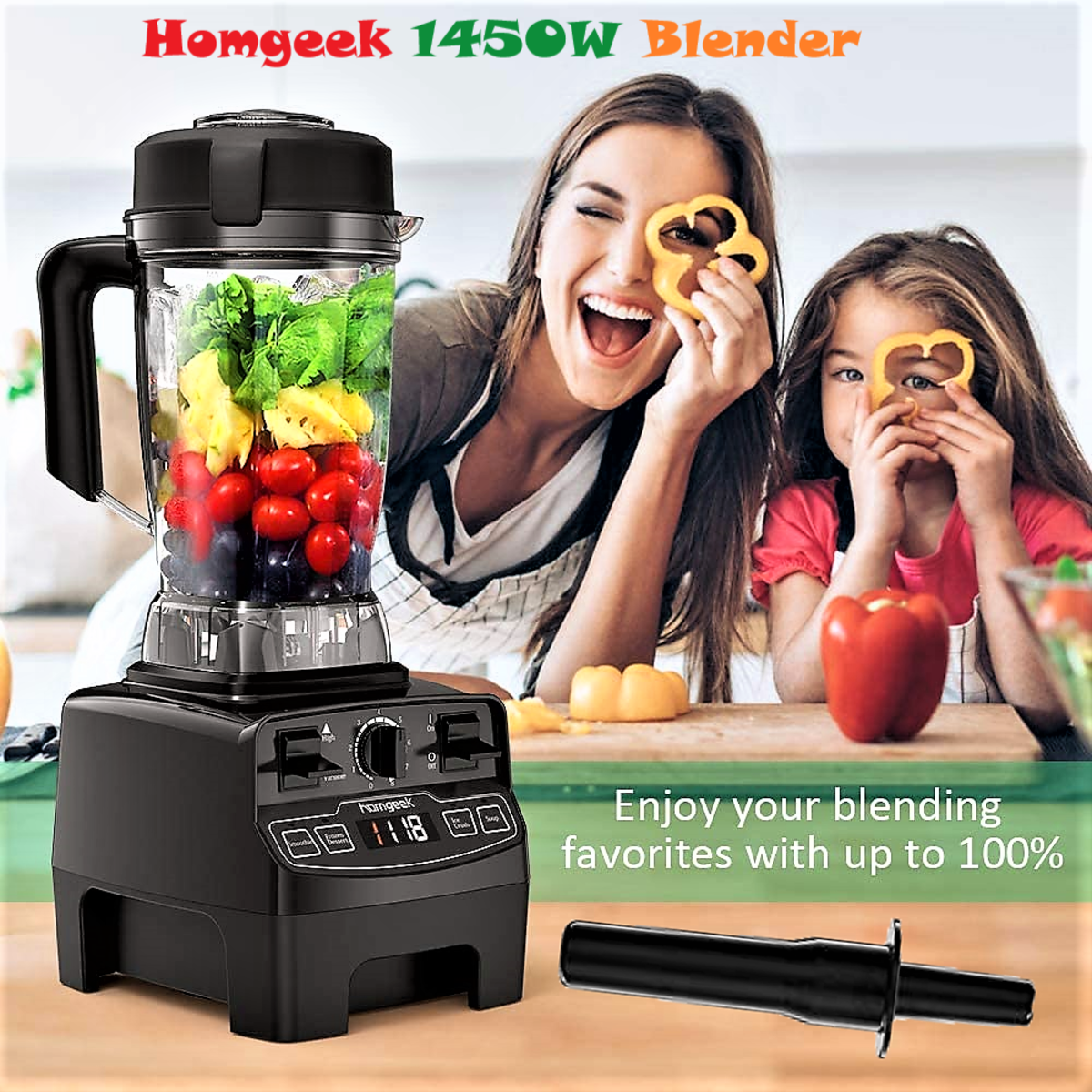 Homgeek 1450W High Speed Blender & Smoothie Maker