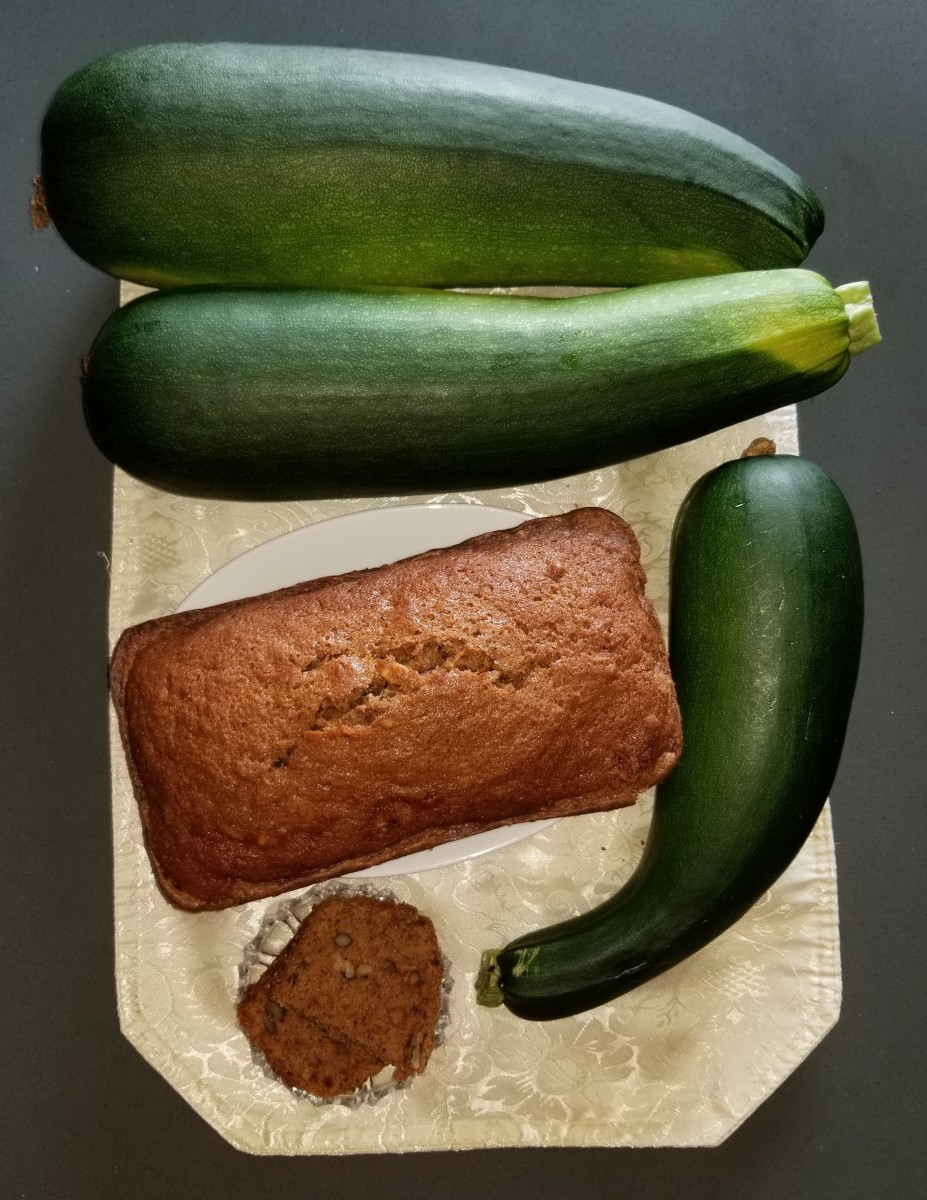 Zucchini bread made from home-grown zucchini.