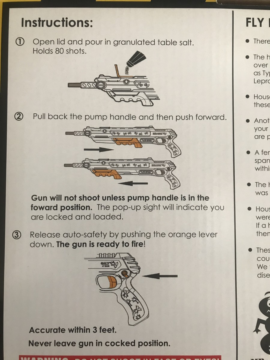 Instructions on how to use the salt gun from the box it came inside
