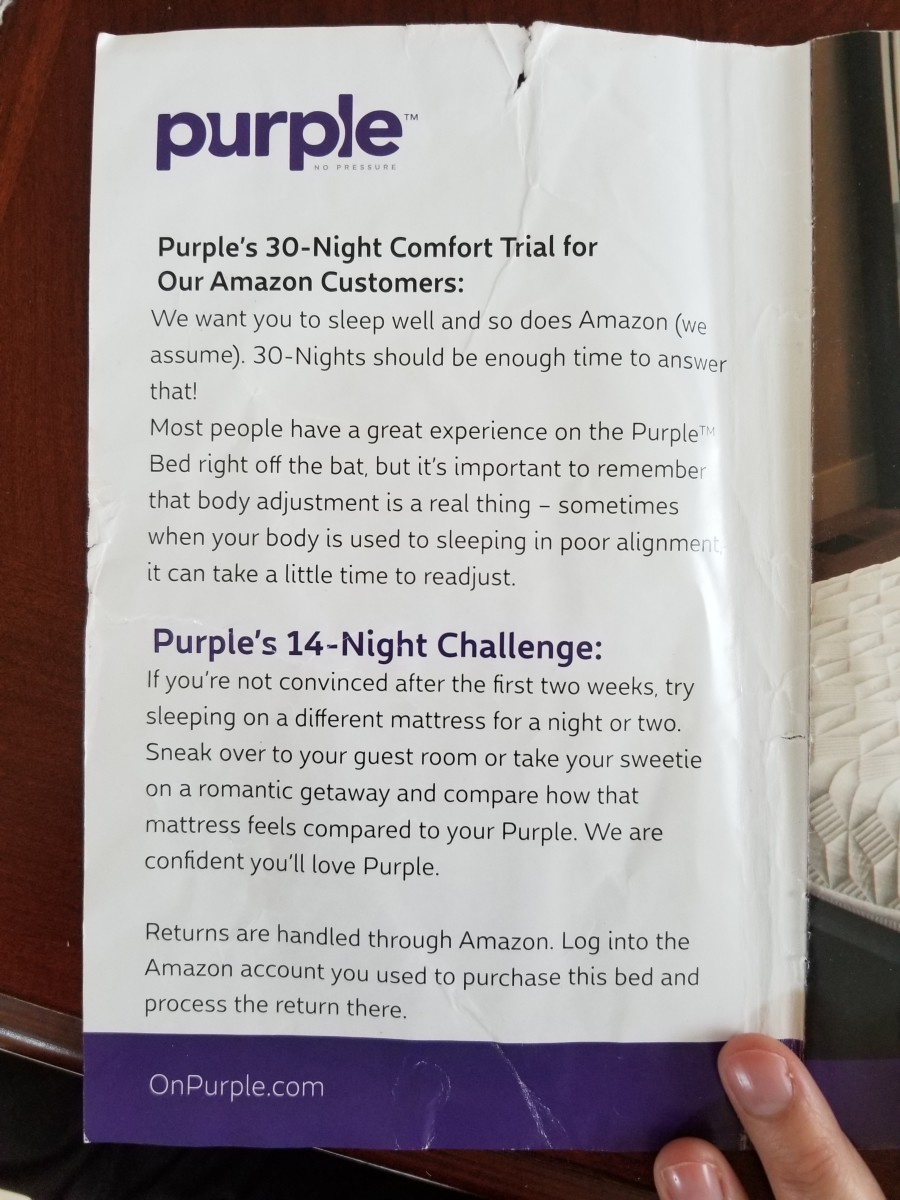 The Purple mattress I ordered through Amazon came with this insert explaining the trial period and how it works through Amazon versus purple.