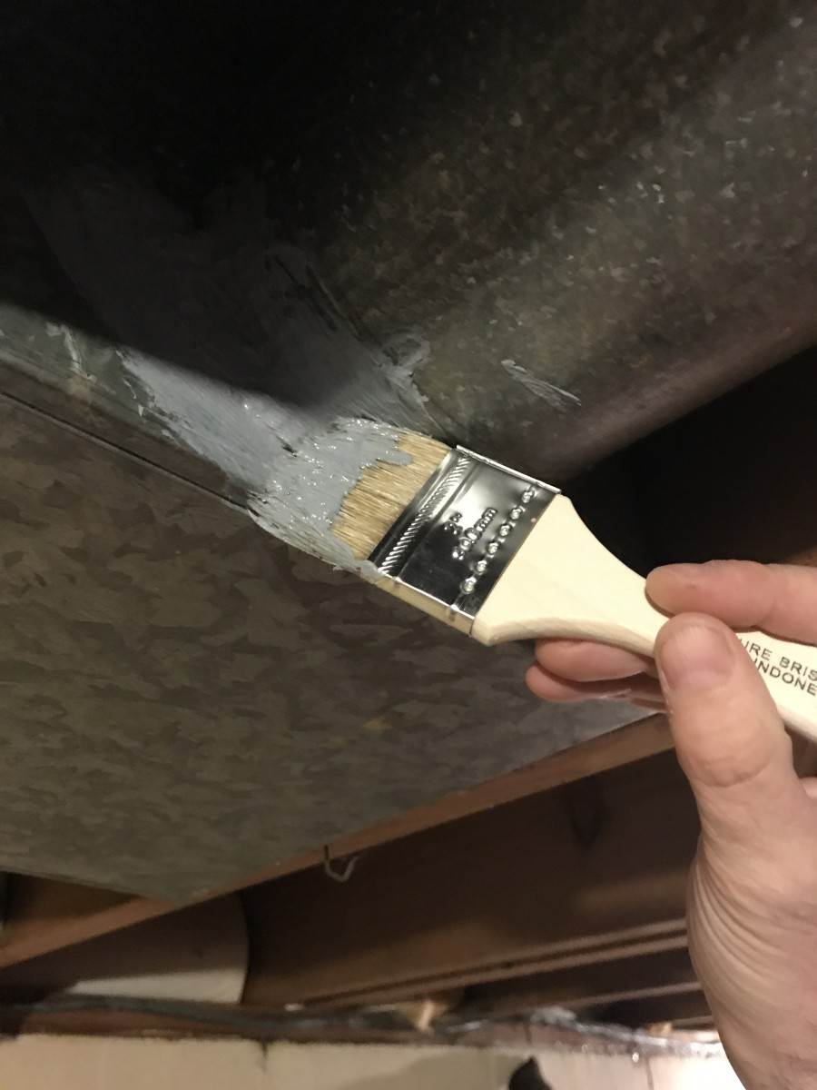 Make sure you push and pull the brush so the mastic works into the seams.