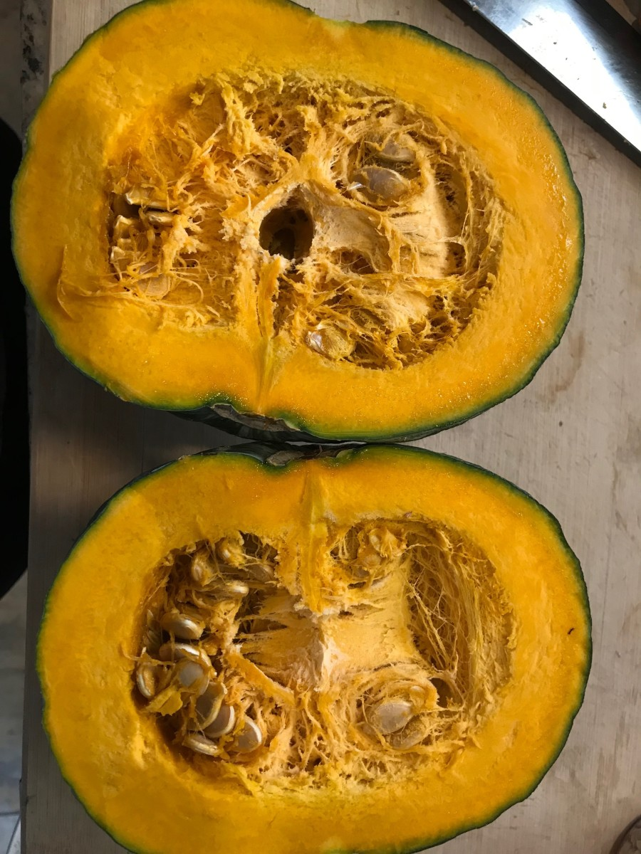 One kabocha squash has dozens of seeds, and then you can have a bunch of kabocha squash for months!