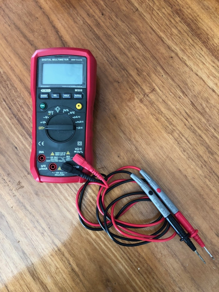 A typical digital multimeter that can be found on numerous web stores. It can measure DC and AC voltages plus much more.