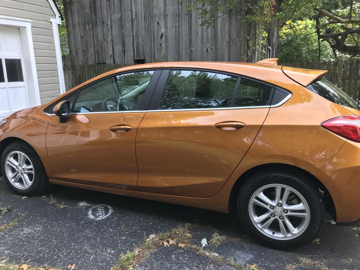 Another angle of my 2017 Chevy Cruze LT hatchback in Orange Burst metallic.