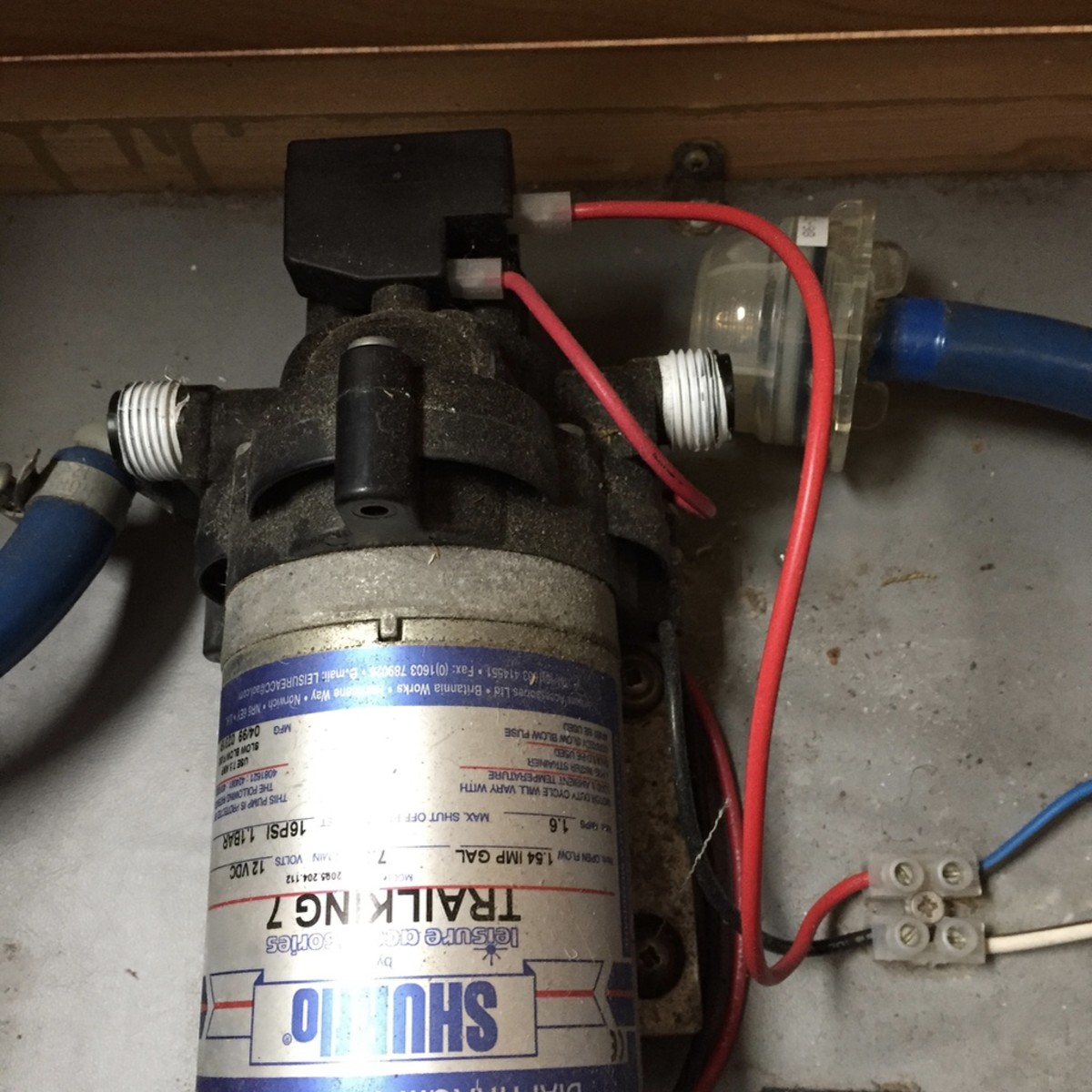 The Shurflo pump with both water connections removed