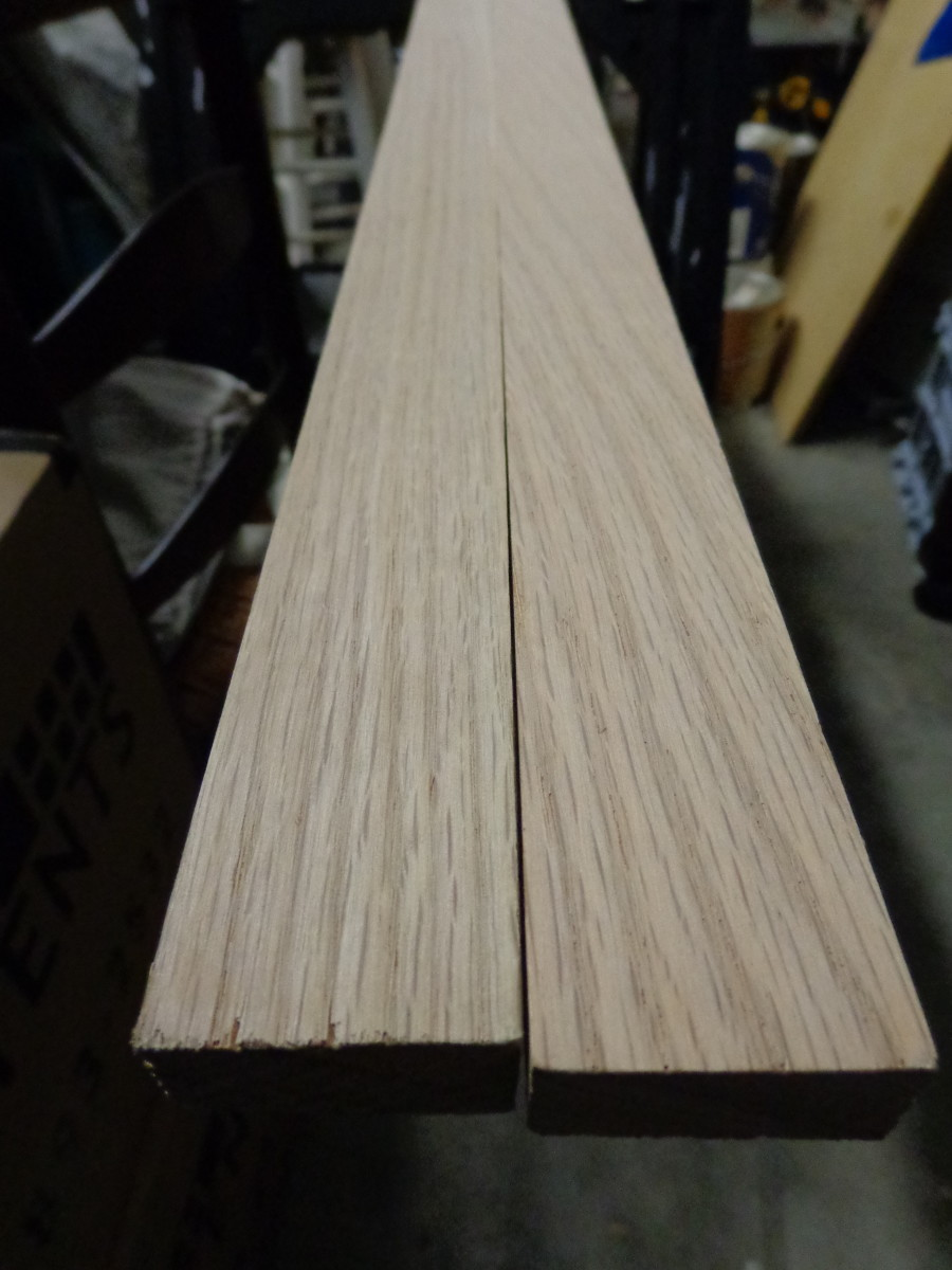 Red oak 10-foot 1 x 2, halved.
