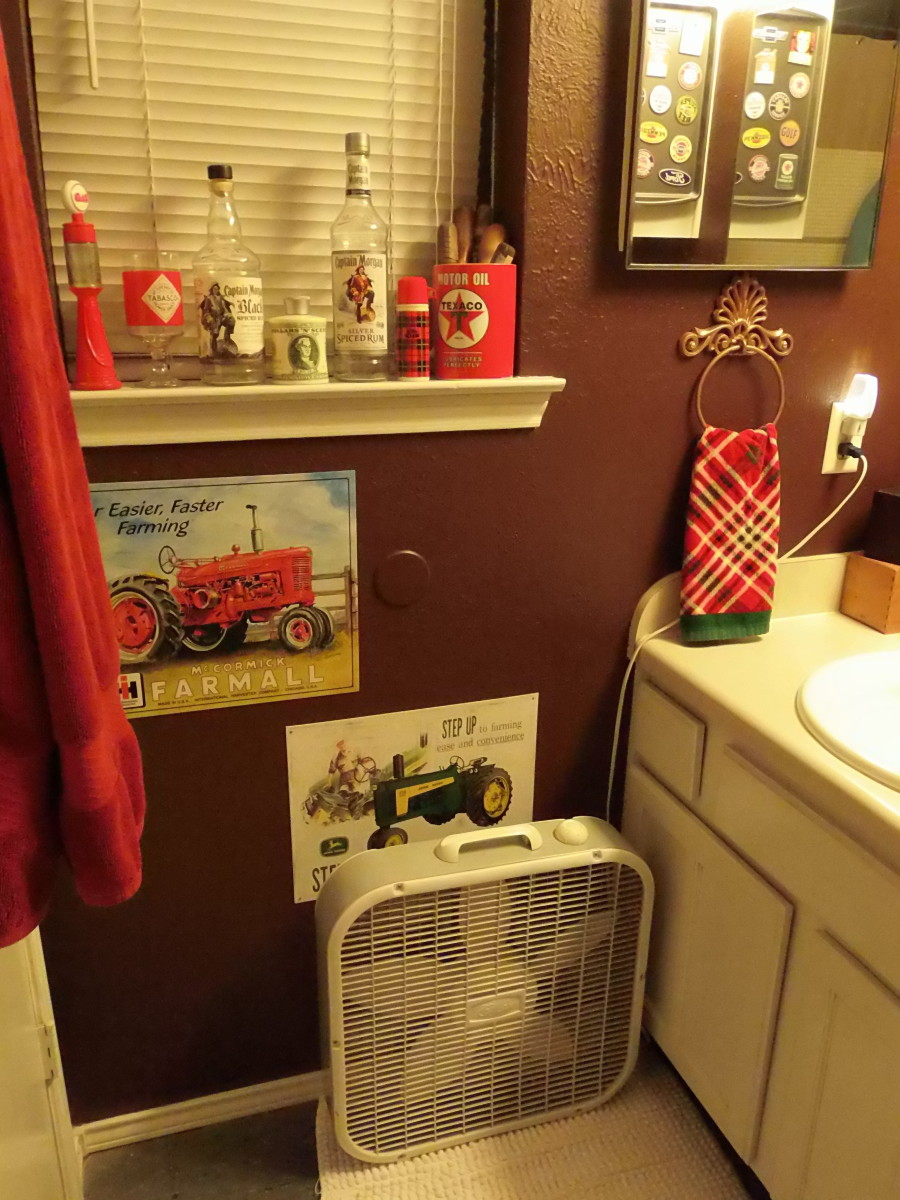 You can use a standard box fan to keep your Men's Room cool or let out some steam.
