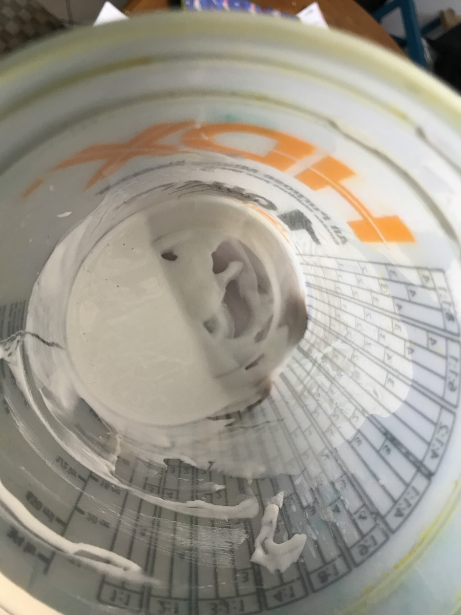 A smooth slurry of chalk powder in warm water.