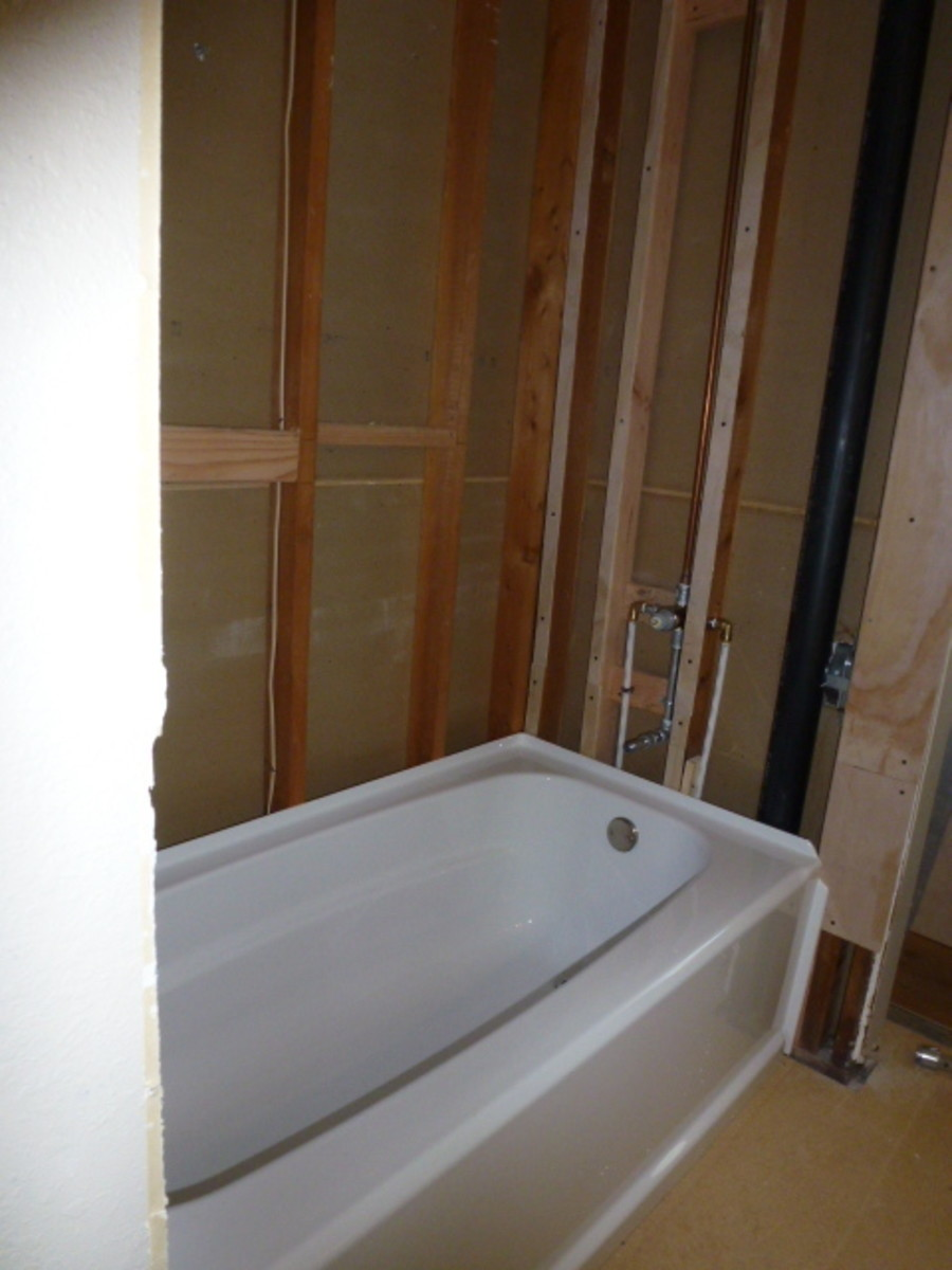 The tub is set into place, but not fastened yet.