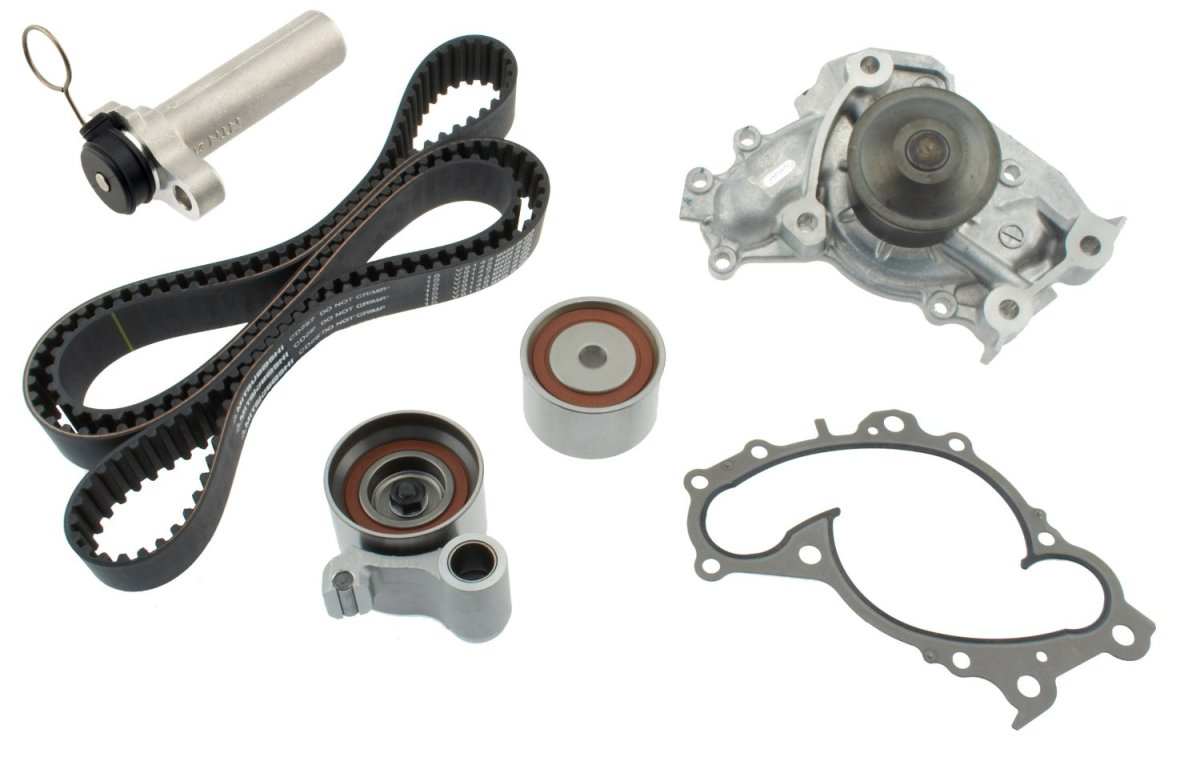 Clockwise from upper right:  timing belt tensioner or actuator, timing belt, water pump, water pump gasket, timing belt tensioner pulley (lower left), idler pulley or guide pulley (center)