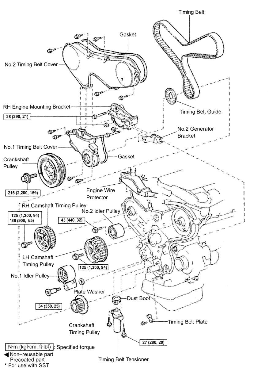 diy timing belt replacement, toyota mzfe engine camry v6, avalon 2006 Lexus ES 300 1mzfe timing belt component diagram