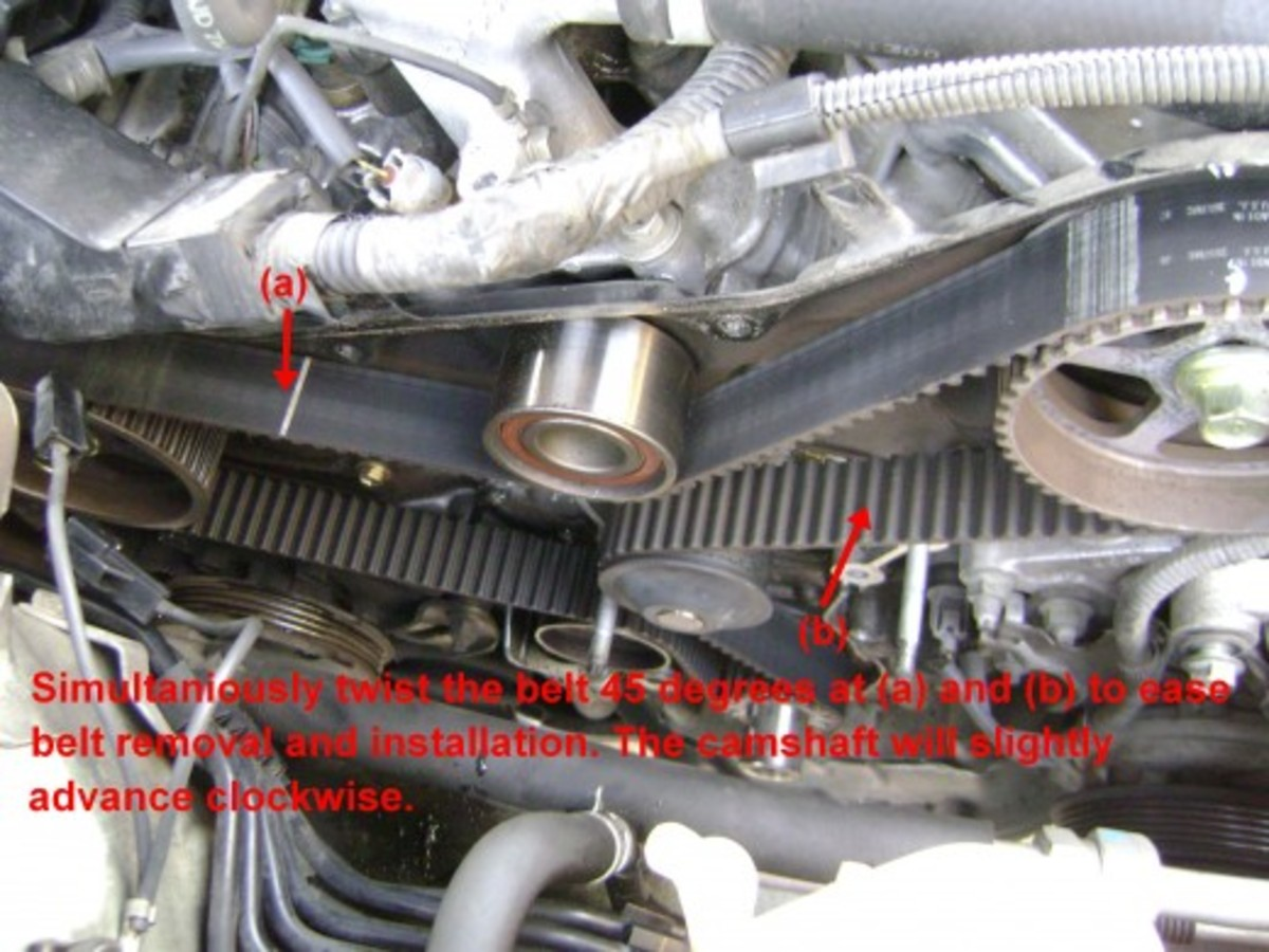 FF.  To make the belt easier to remove, and the new belt easier to install, advance the camshafts slightly by twisting the belt 45 degrees at (a) and (b).