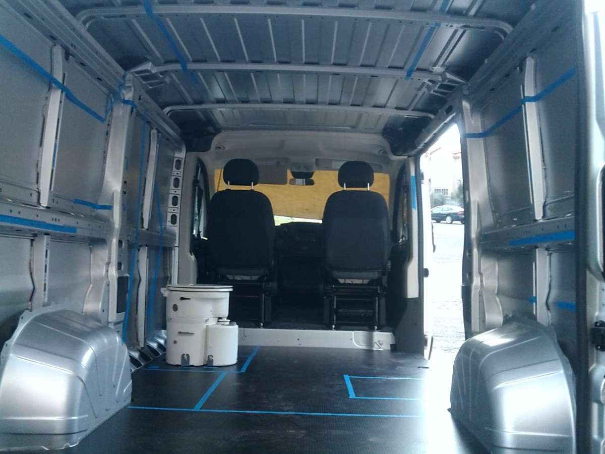 Interior of Promaster van