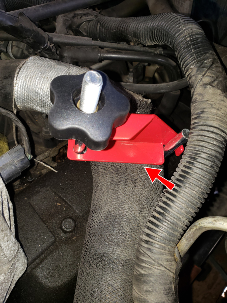 Coolant hose clamped