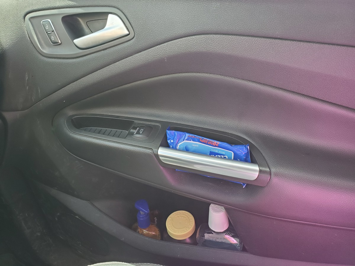 Utilize the car door's storage for frequently used items such as hygiene or medications so that they are easily accessible.