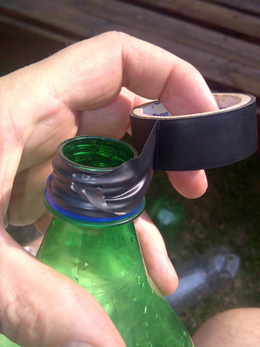 Apply isolation tape to the top of the bottle
