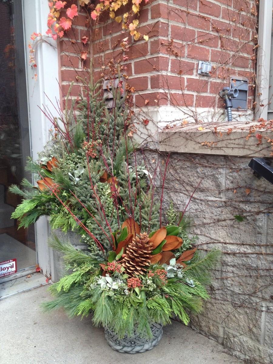 Porch winter urns