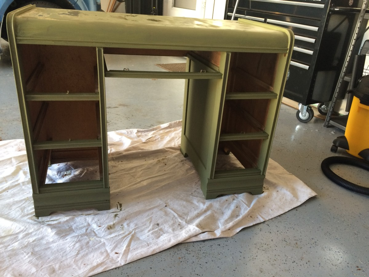 After the first coat on front of the desk