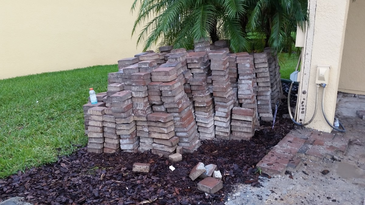The last batch of pavers, stacked for removal.