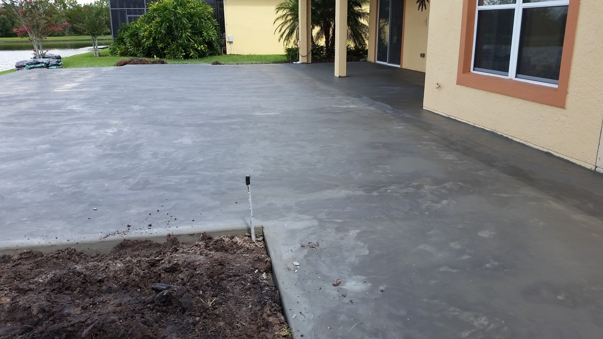 This will get a special finish that keeps the surface cool, but first, it has to cure. Luckily, we had 2 days of sun to help the concrete dry and set.