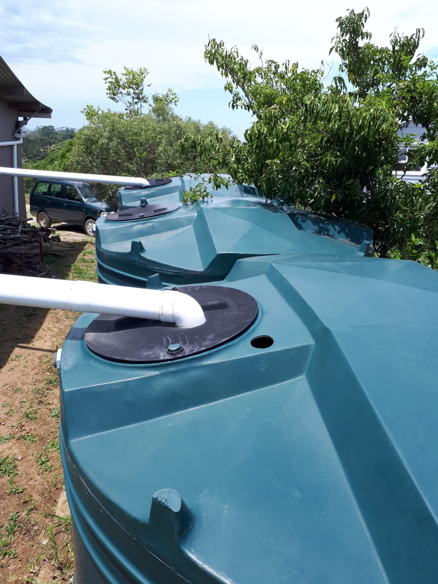 Water tanks set up to harvest roof-water.
