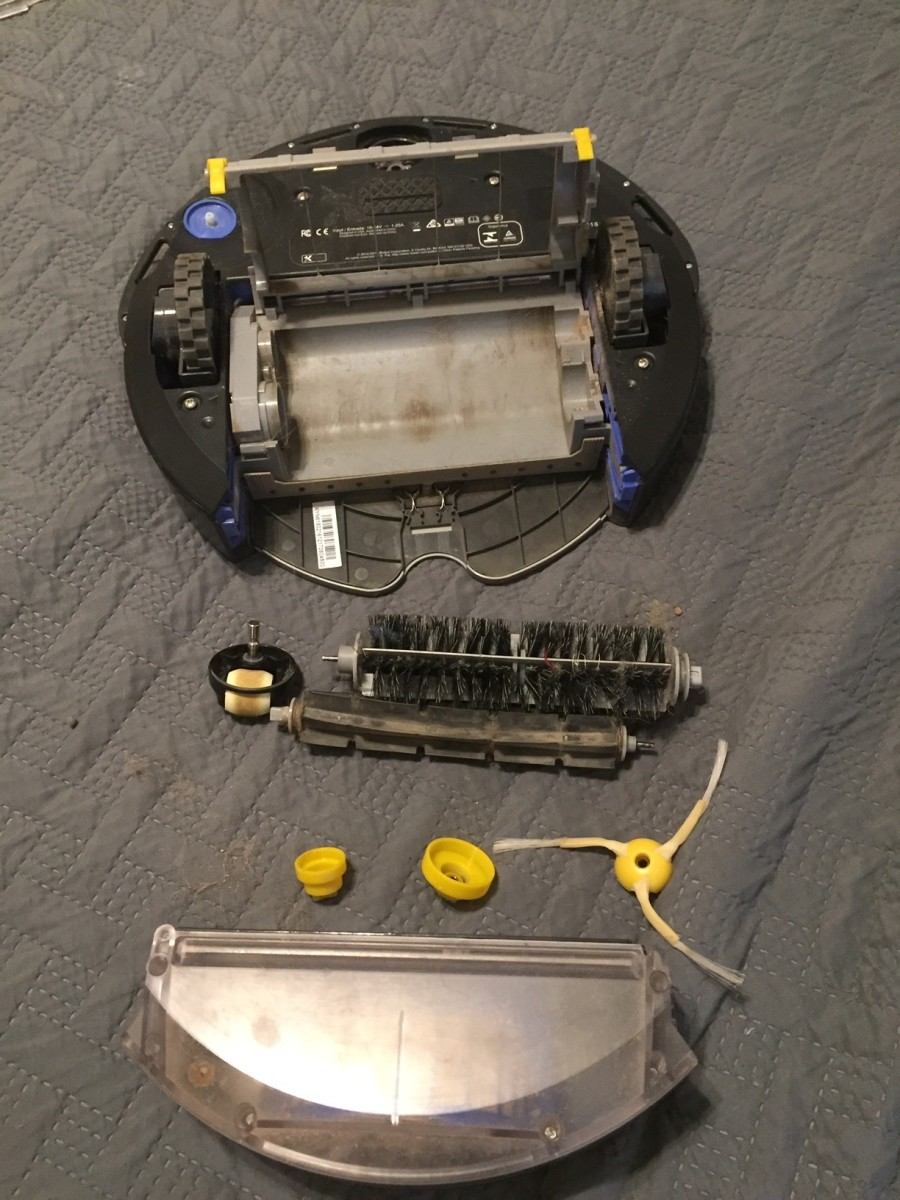 A disassembled Roomba
