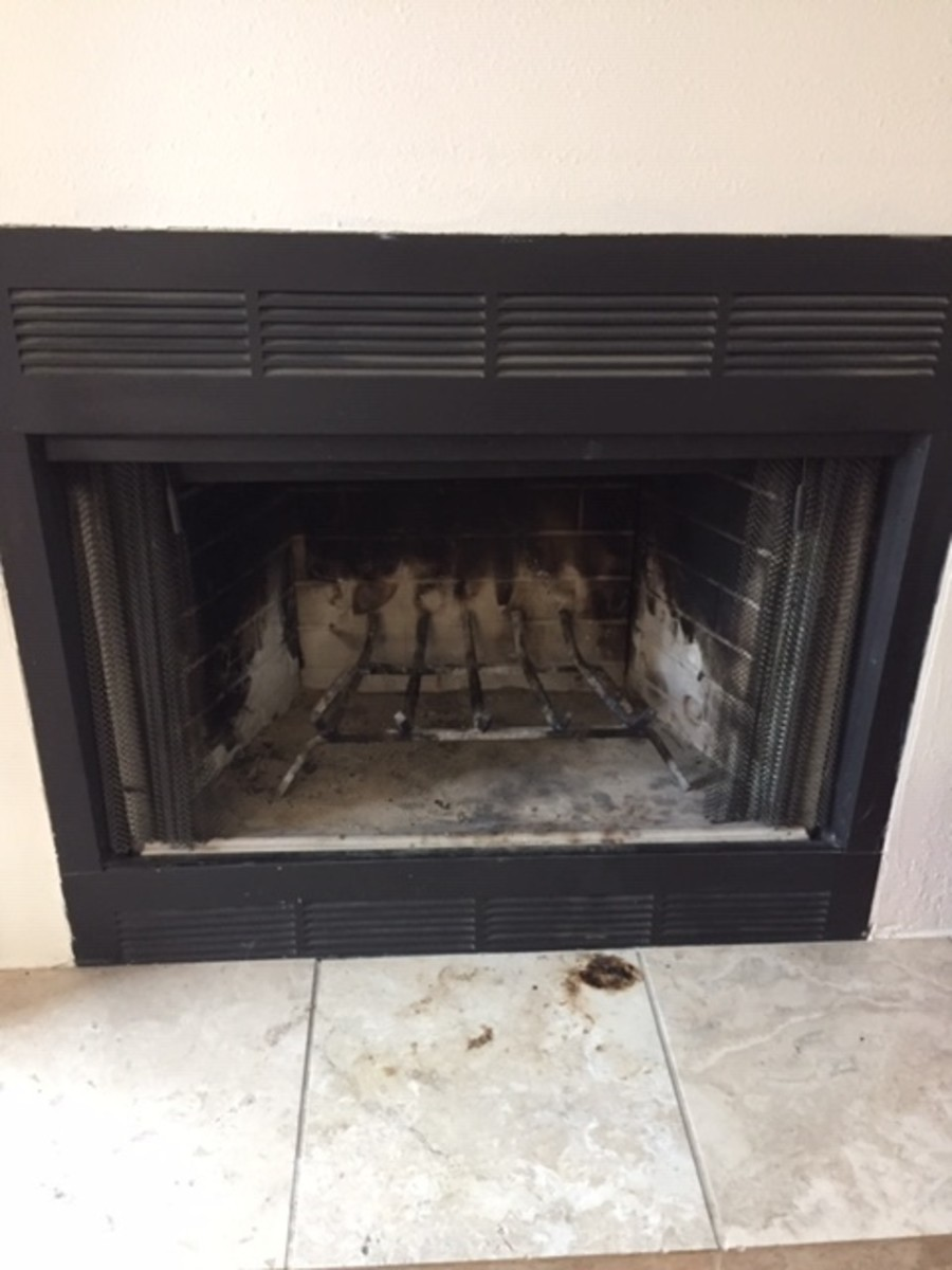 A freshly swept fireplace