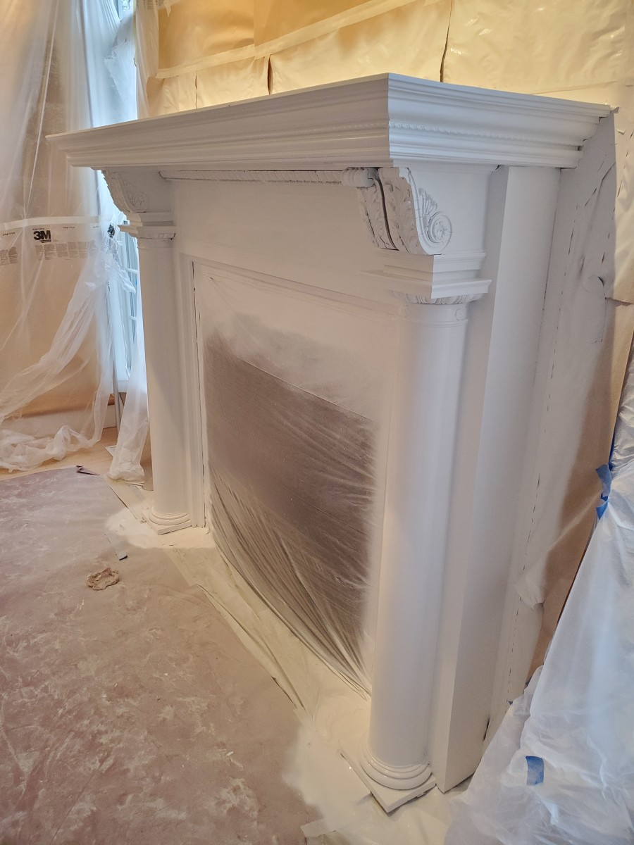 A fully prepped mantel after I sprayed the final coat of enamel.
