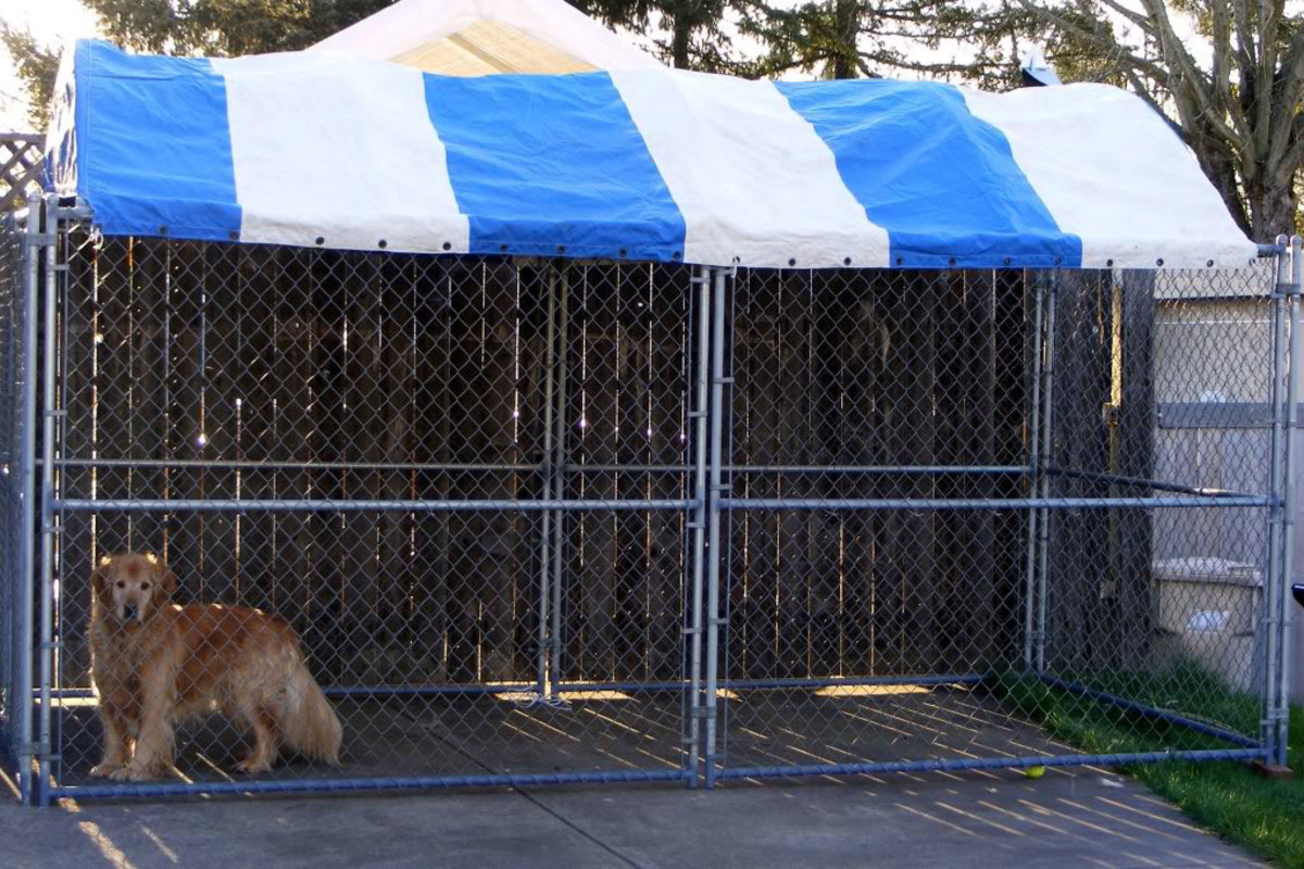 Fenced dog runs are available with weather resistant UV-treated tops.