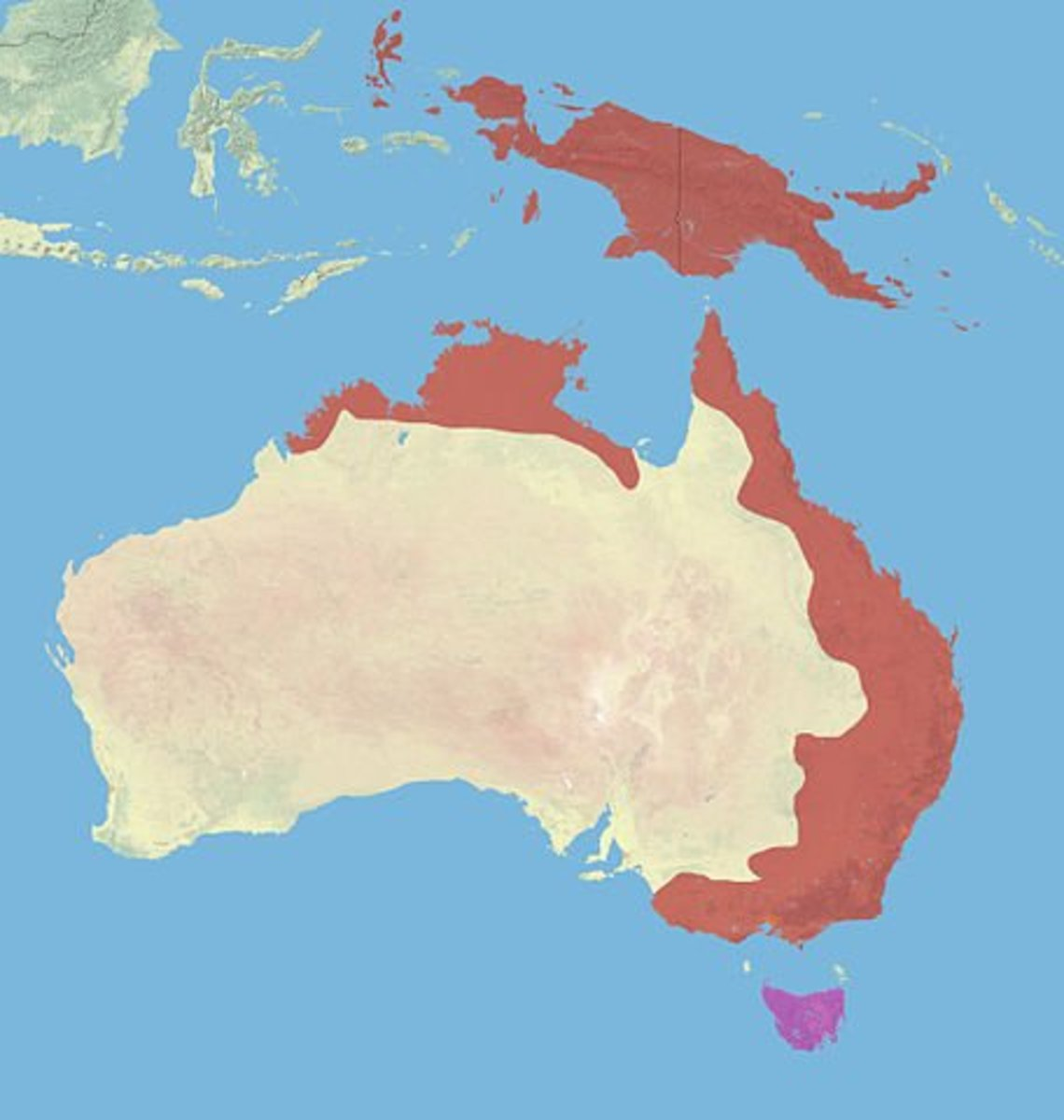 IUCN Map of Sugar Glider Distribution