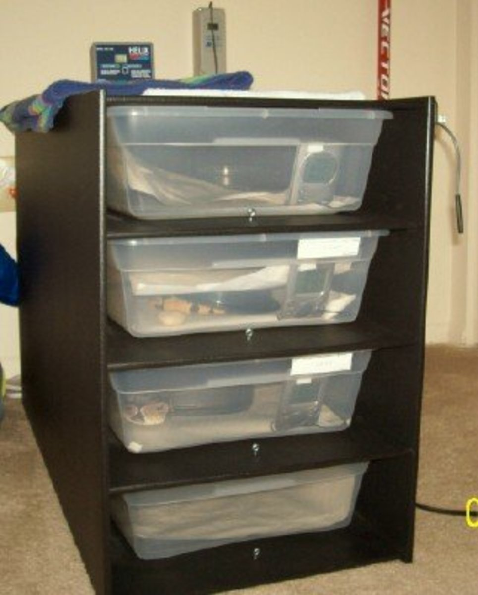Another great housing option: racks!  Tubs fixed in a shelving unit with proper heating and heat regulation attached.  Most ball python breeders use these.