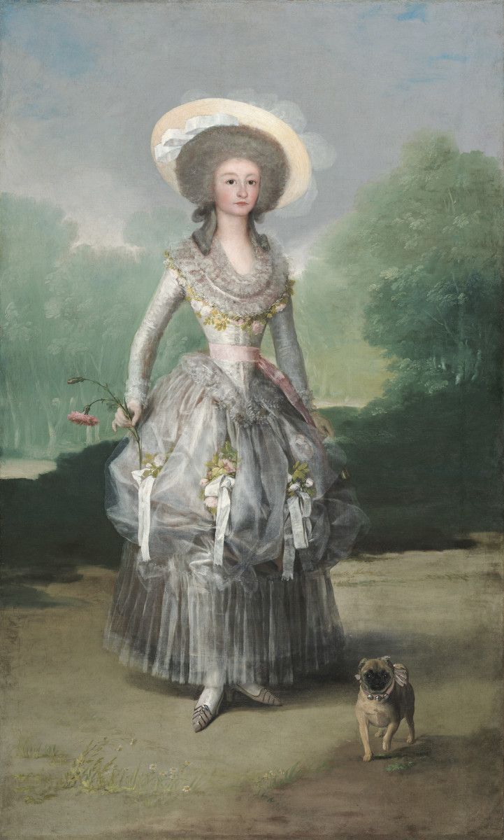 The Marquesa de Pontejos by Francisco Goya, 1786. This paiting features the subject and her pet pug.
