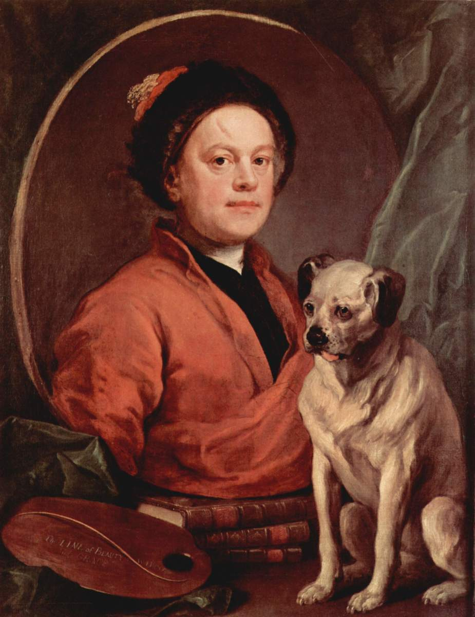 The Painter and His Pug - Self-portrait, William Hogarth (1697–1764). This self-portrait features Hogarth with his pug, Trump.