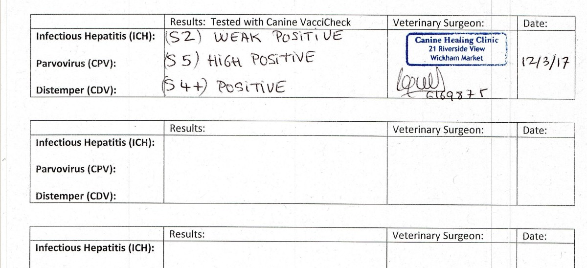 Titre test results for a three year old cocker spaniel