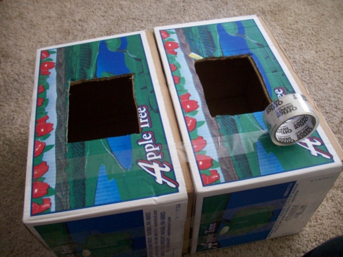 Taping the two boxes together
