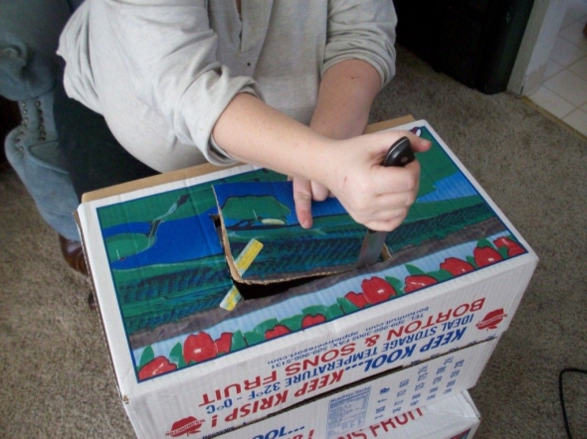 Cutting a hole through both the lid and bottom of the box