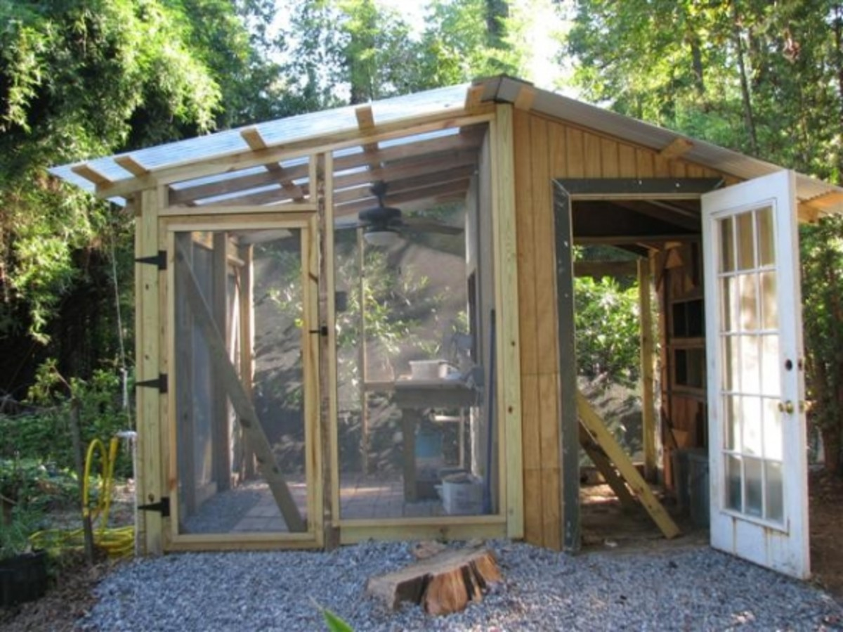 Hen house/greenhouse duplex
