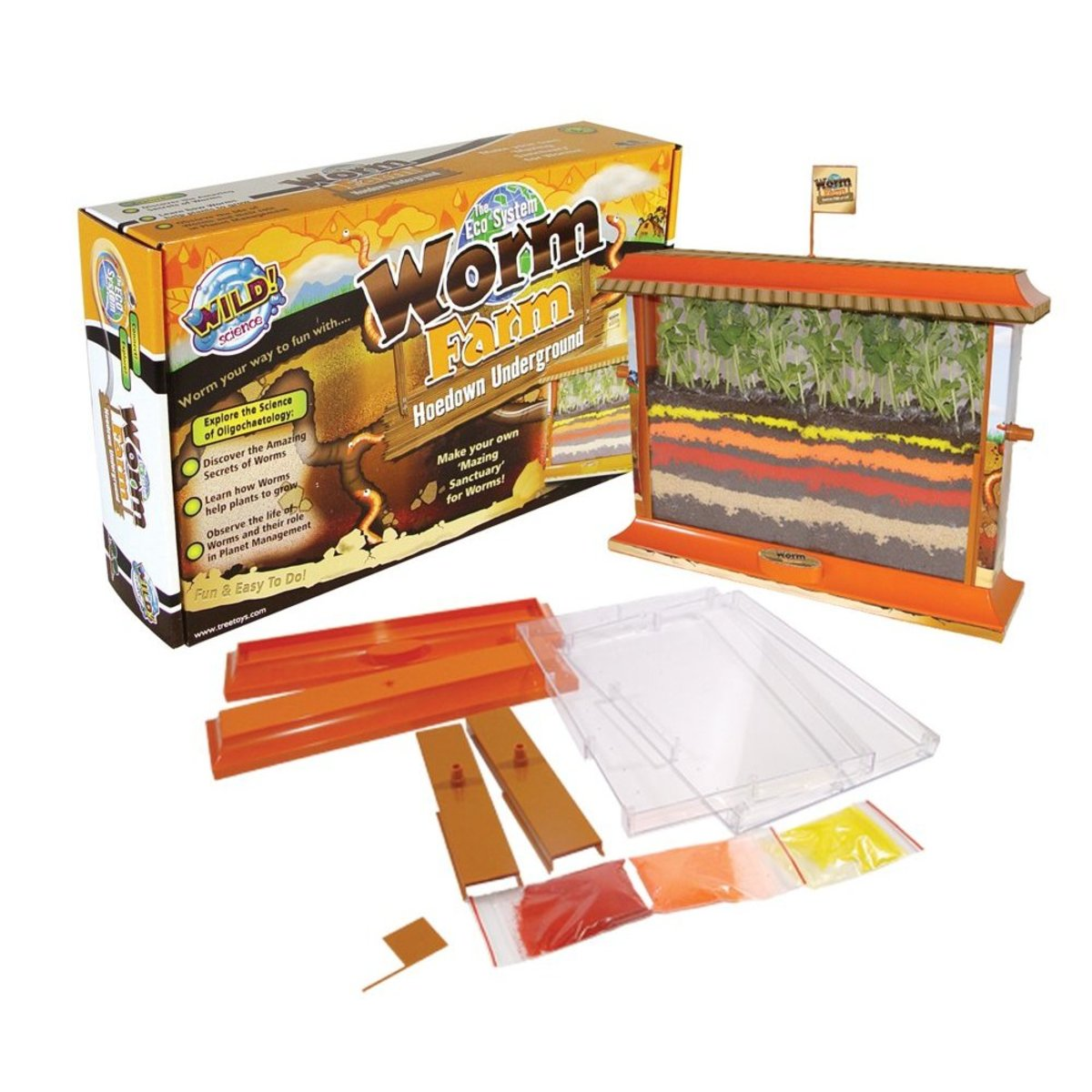 A worm farm is a clear sided tank where you can see your worm as it slides through the soil.