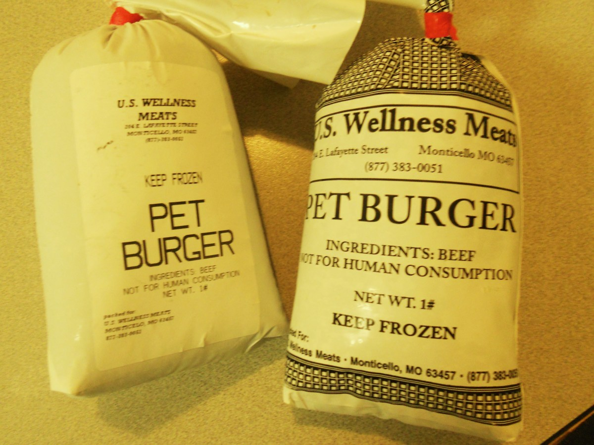 The pet burger by wellness meats; ground beef and 10 percent beef heart.