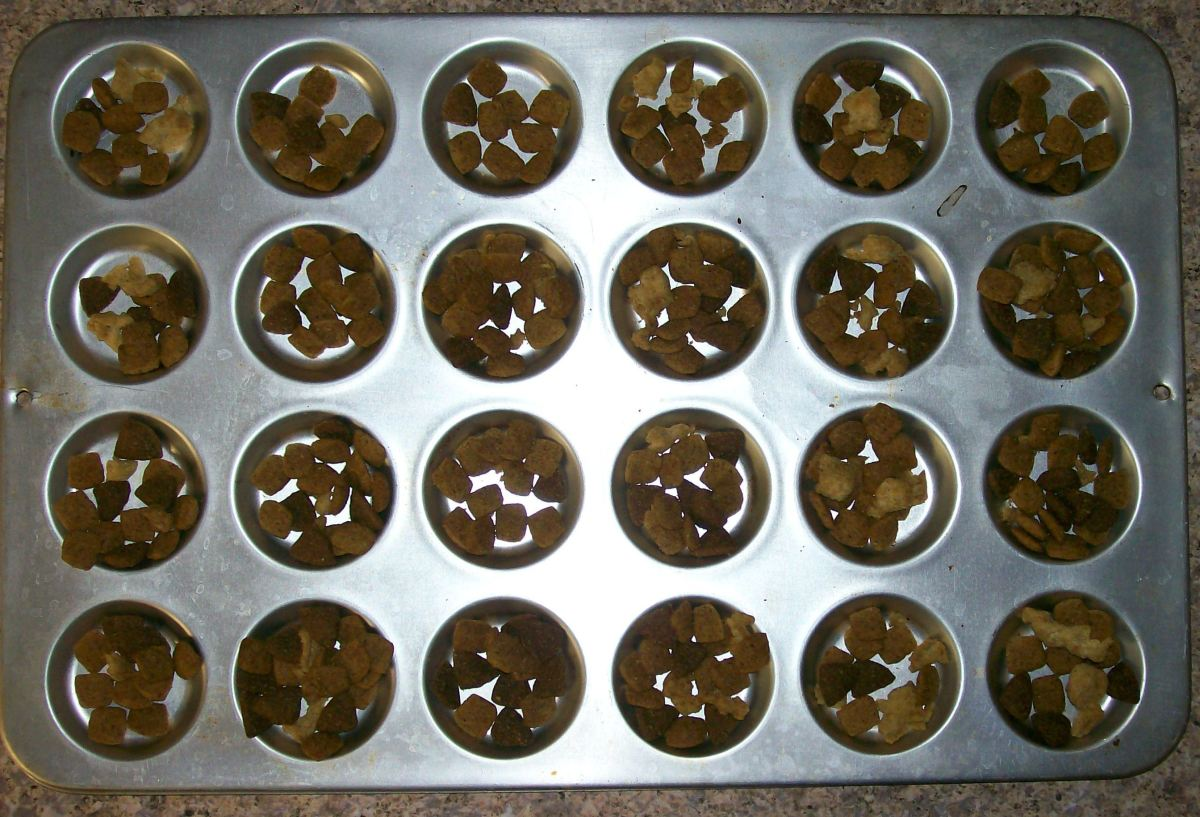 Use compartments in a small muffin pan.