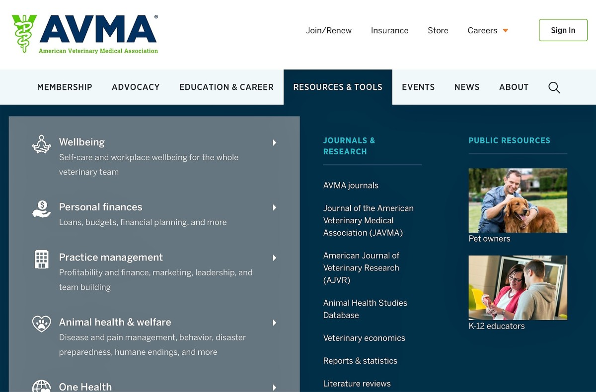 Screenshot of the Resources and Tools section of the AVMA website