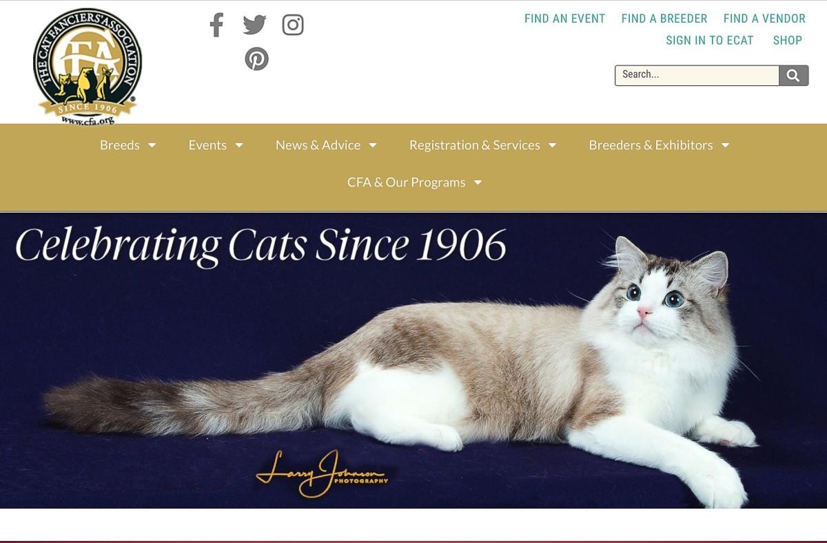 A screenshot of the Cat Fanciers' Association website