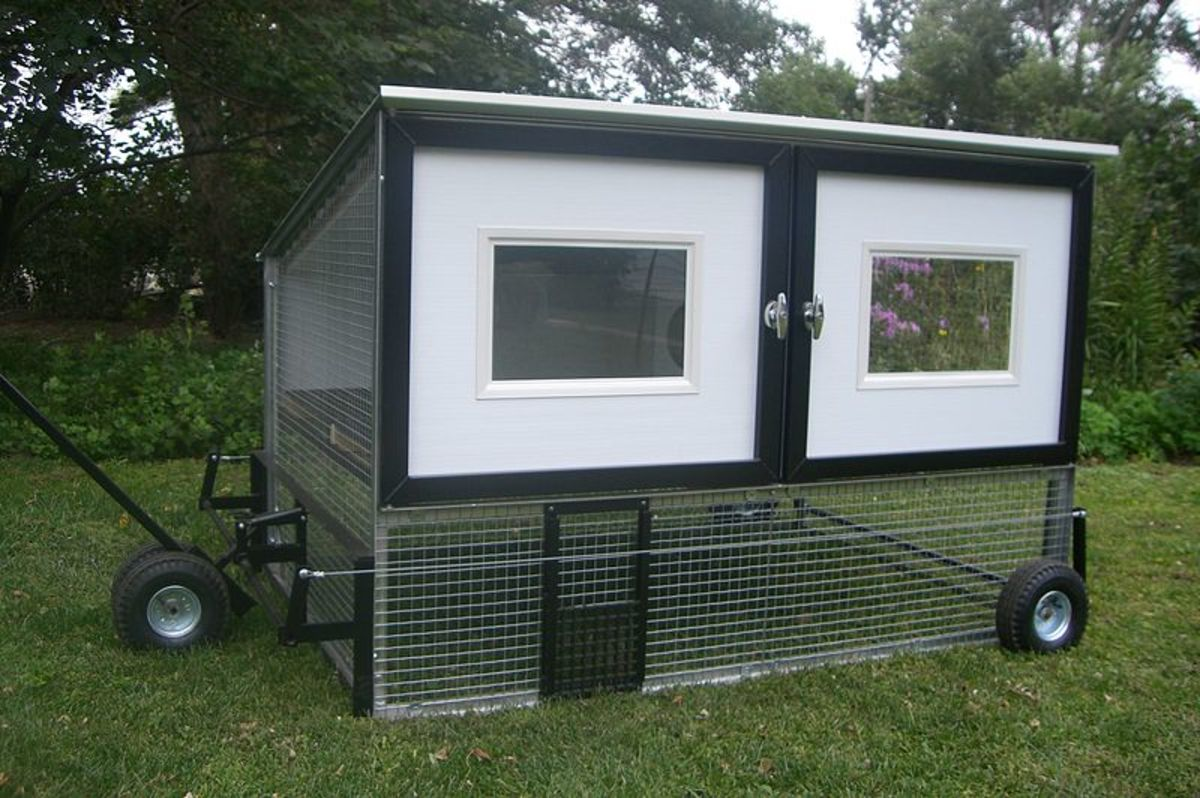 A chicken coop on wheels