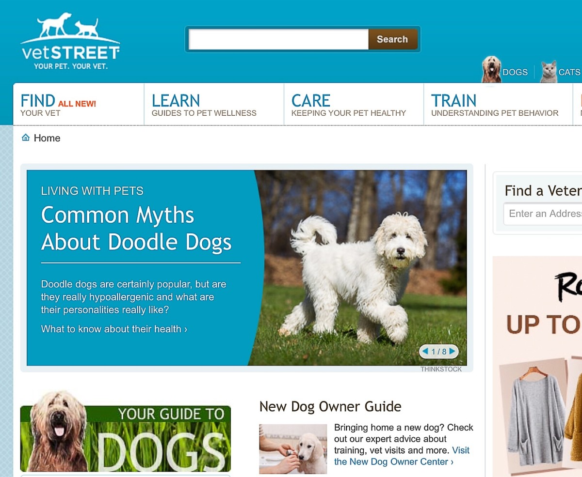 Screenshot of the Vetstreet website